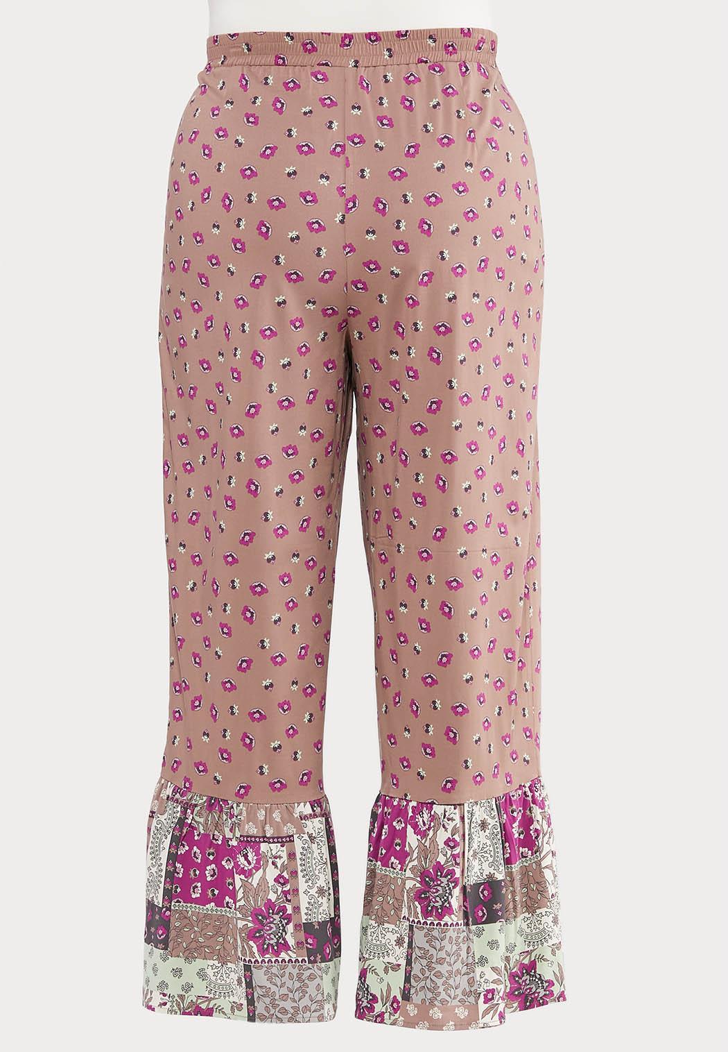 Plus Size Floral Patchwork Pants (Item #44514543)