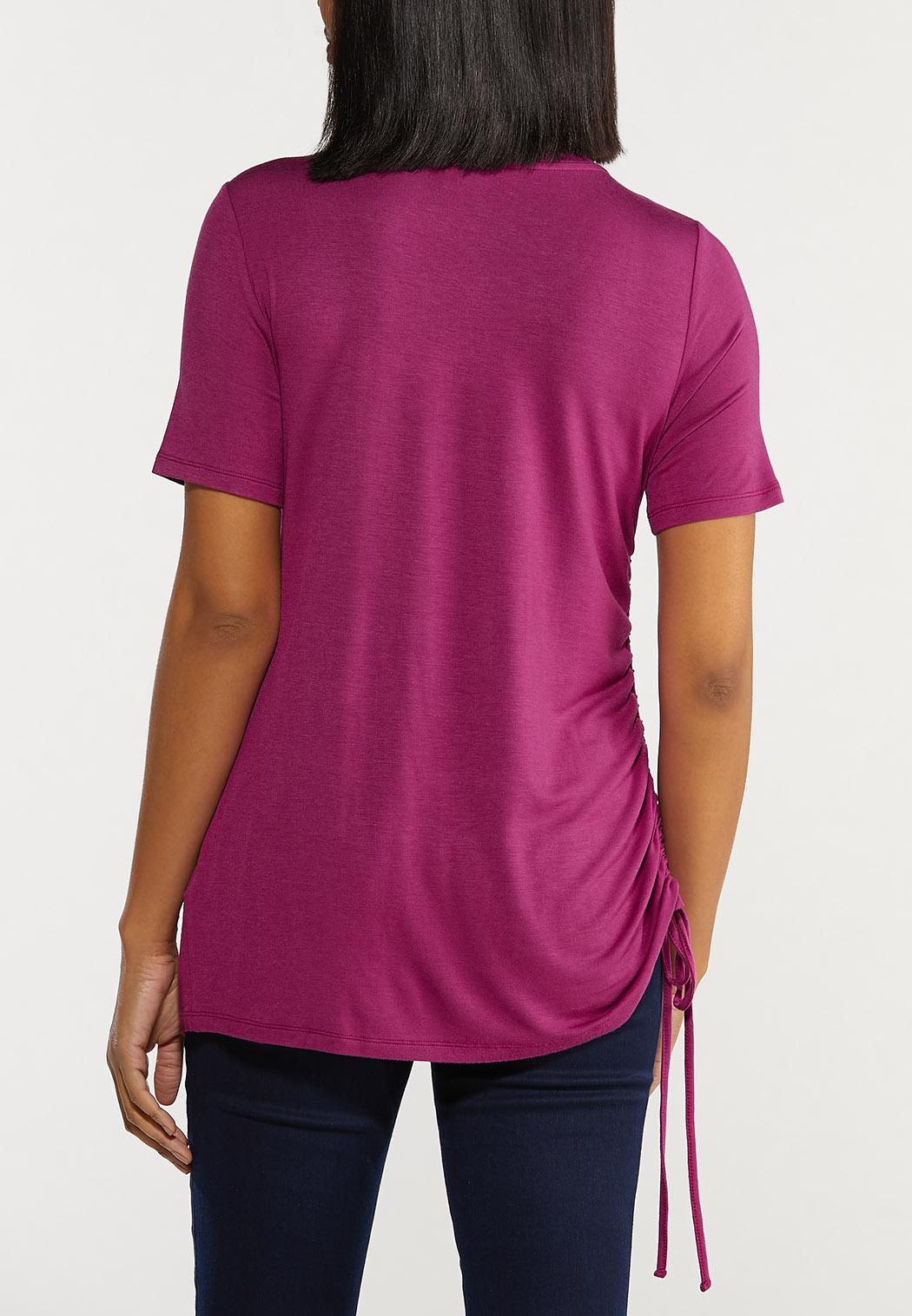 Plus Size Ruched Side Tee (Item #44514625)