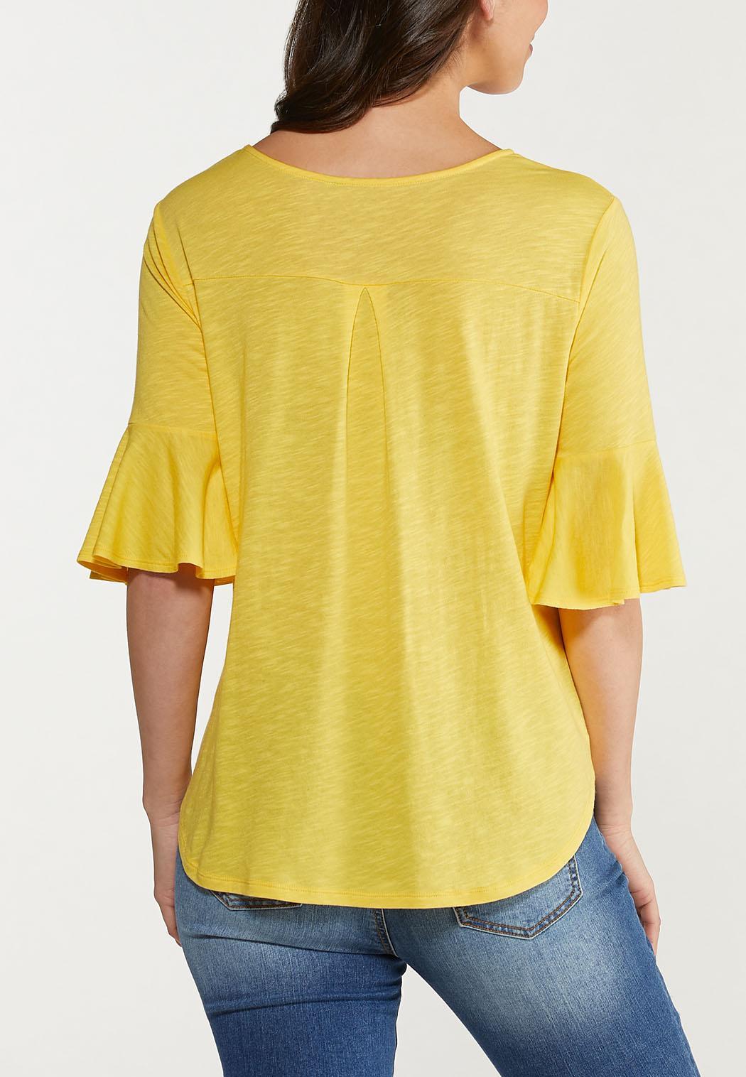 Plus Size Button Flutter Sleeve Top (Item #44514720)