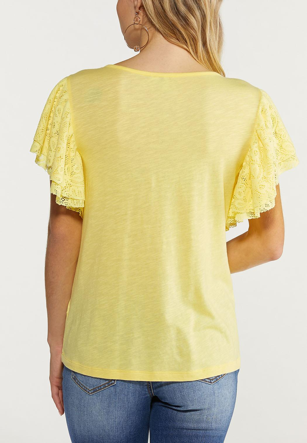 Plus Size Yellow Lace Flutter Sleeve Top (Item #44514749)