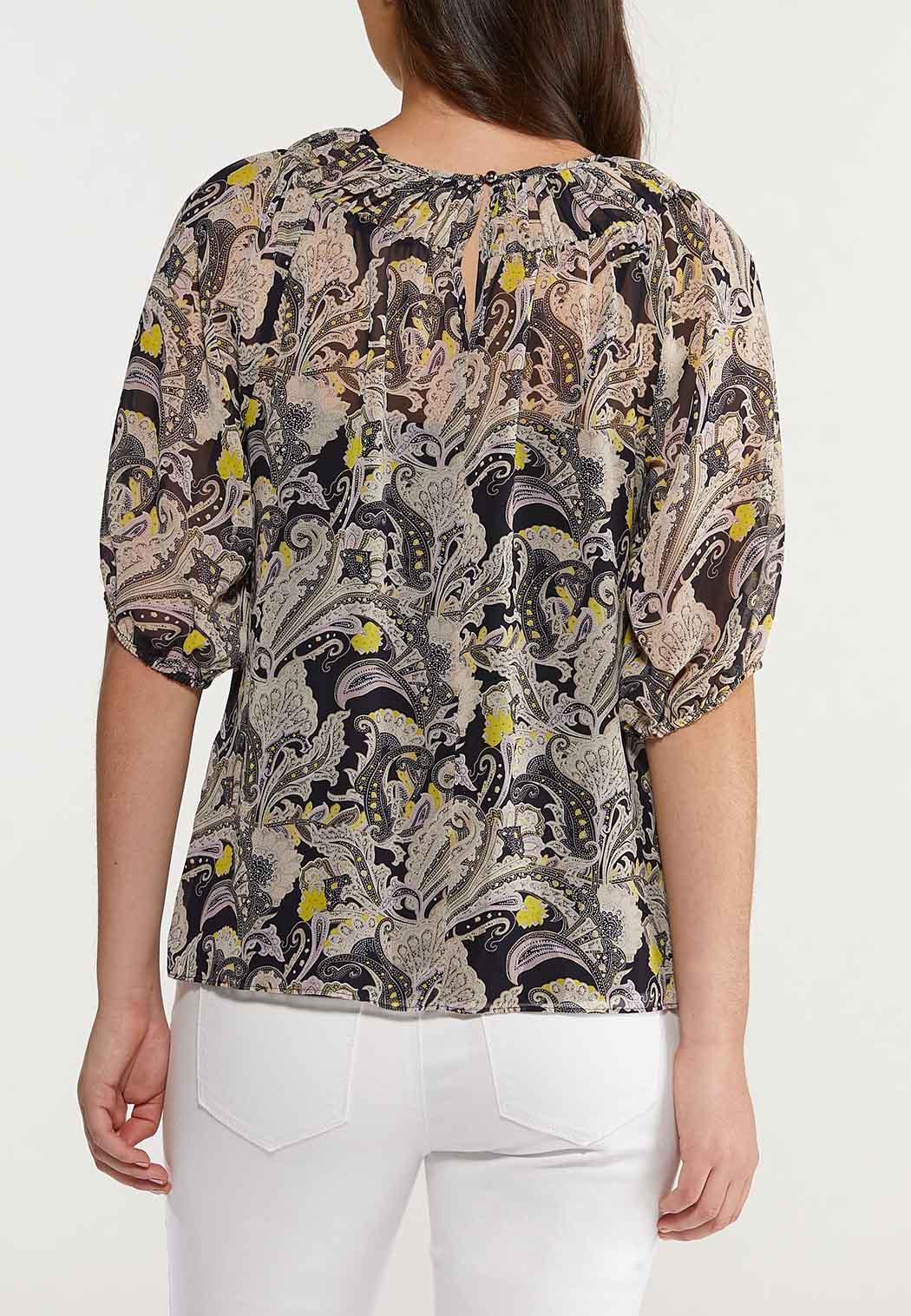 Plus Size Paisley Smocked Neck Top (Item #44514928)