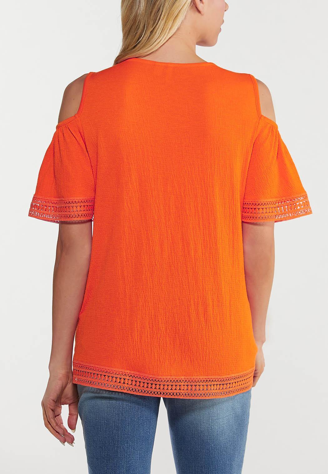 Plus Size Orange Lace Cold Shoulder Top (Item #44515258)