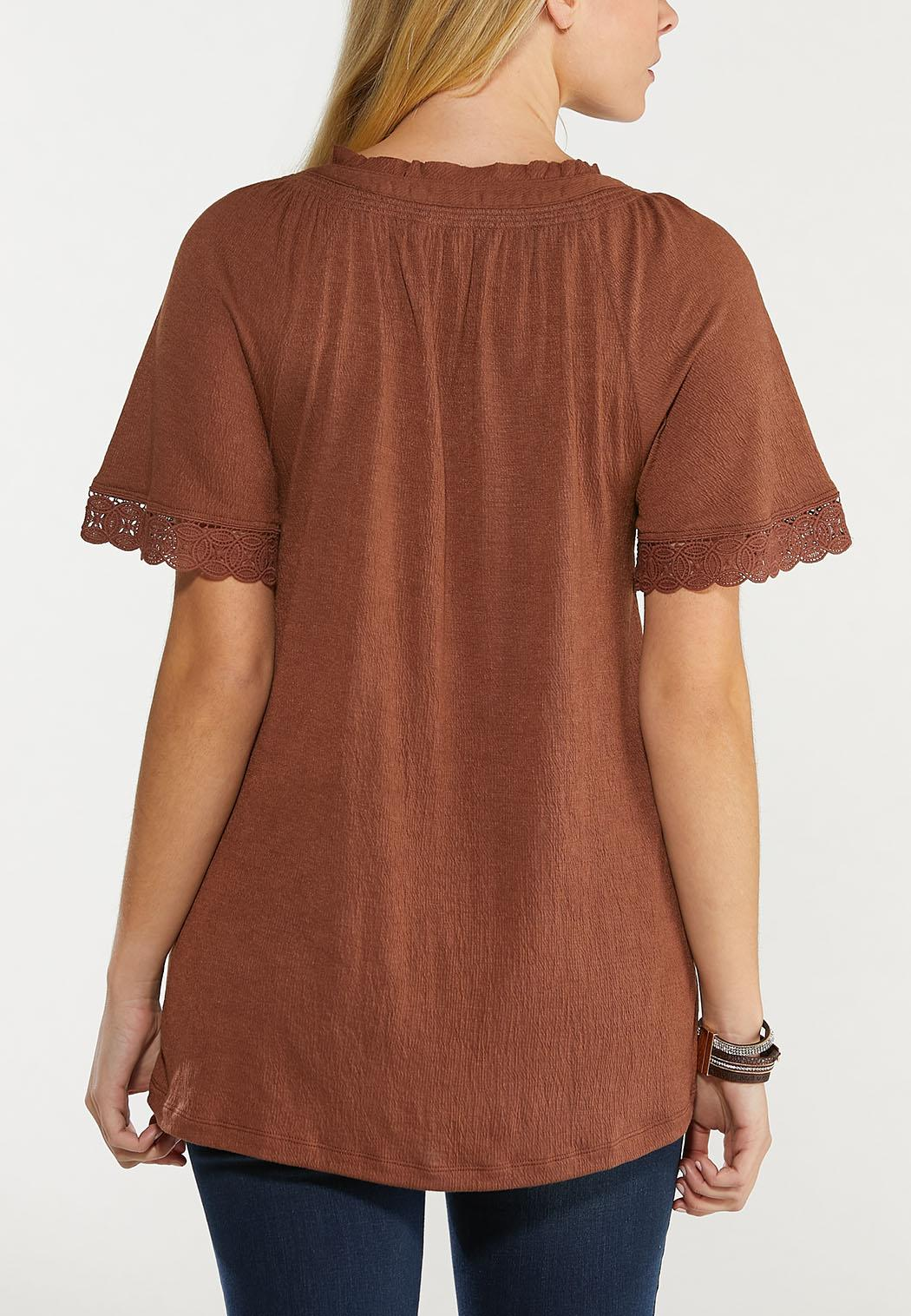 Plus Size Chocolate Lace Trim Poet Top (Item #44515322)