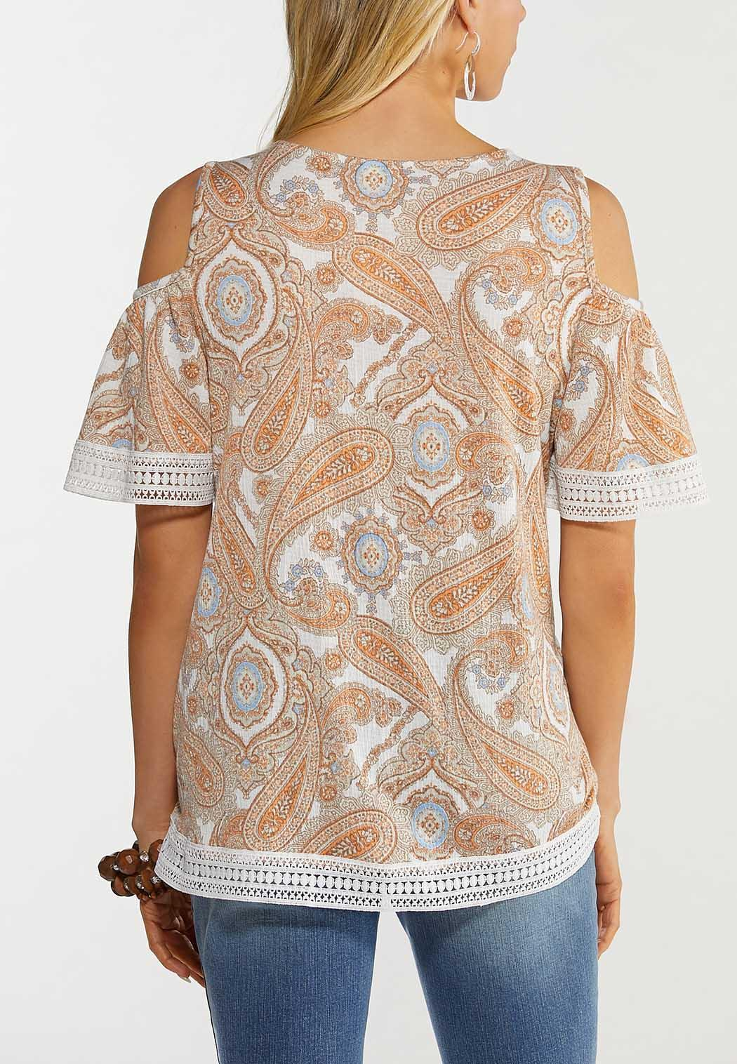 Plus Size Paisley Cold Shoulder Top (Item #44515409)