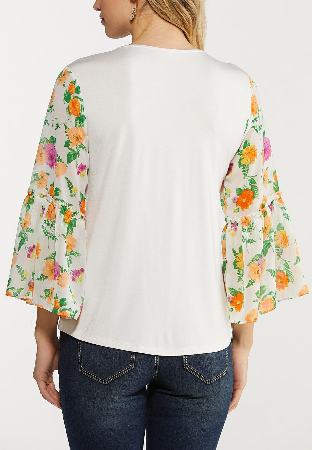 Plus Size Chiffon Floral Sleeve Top (Item #44515637)
