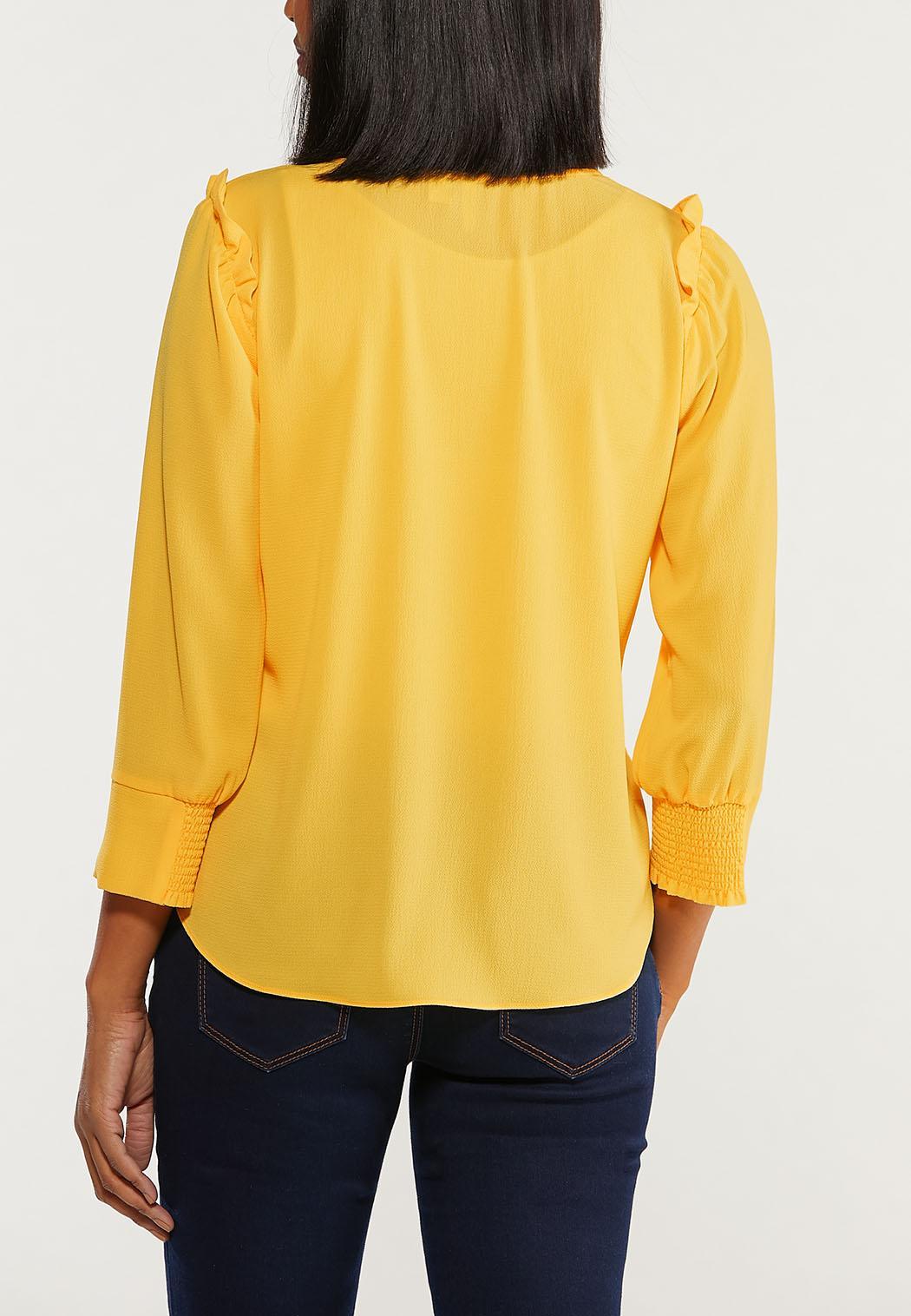 Gold Ruffled Shoulder Top (Item #44515664)