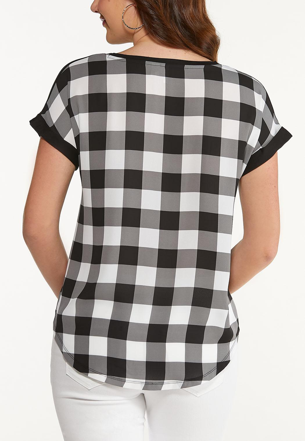 Plus Size Checkered Detail High-Low Tee (Item #44515884)