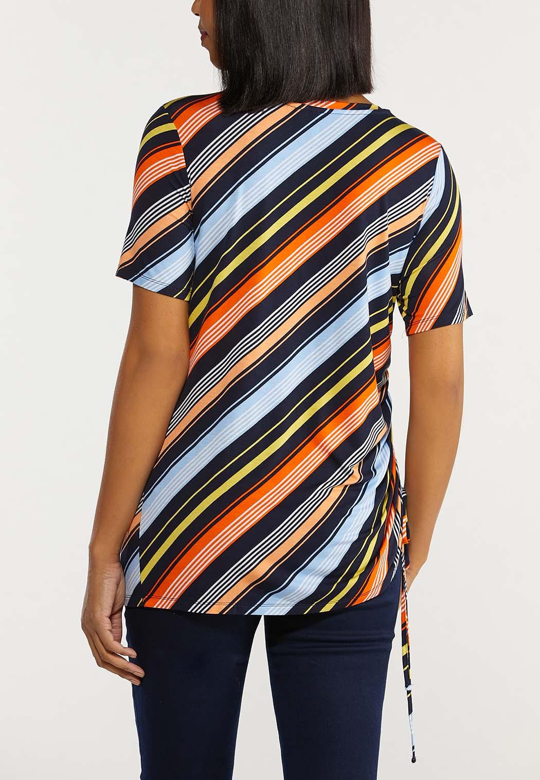 Plus Size Striped Drawstring Side Top (Item #44516014)