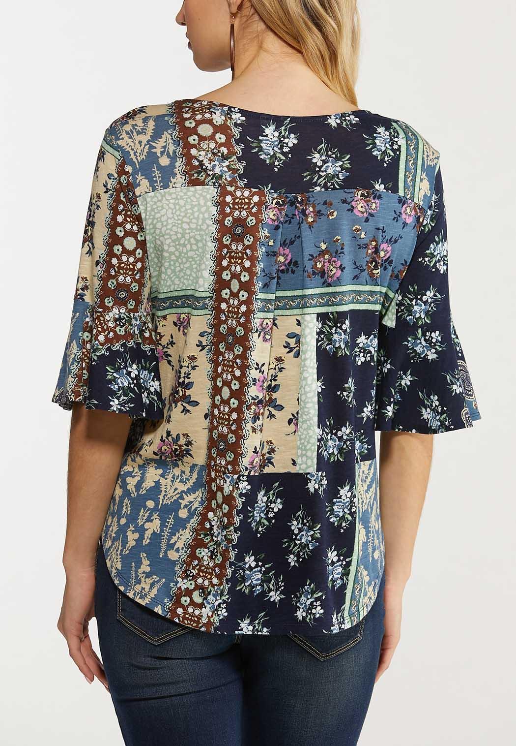 Plus Size Garden Floral Patchwork Top (Item #44516074)