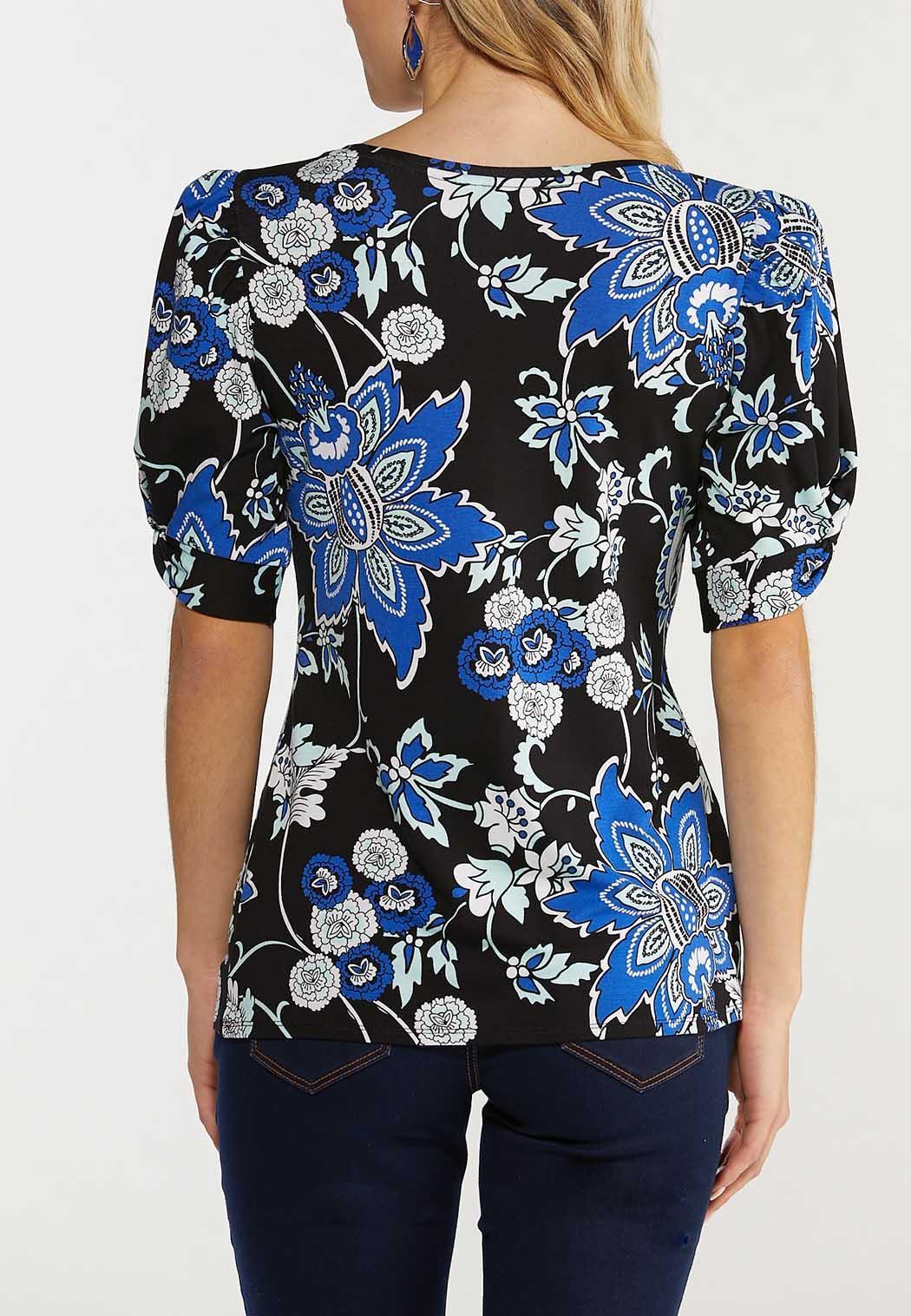 Plus Size Floral Twist Sleeve Top (Item #44516101)