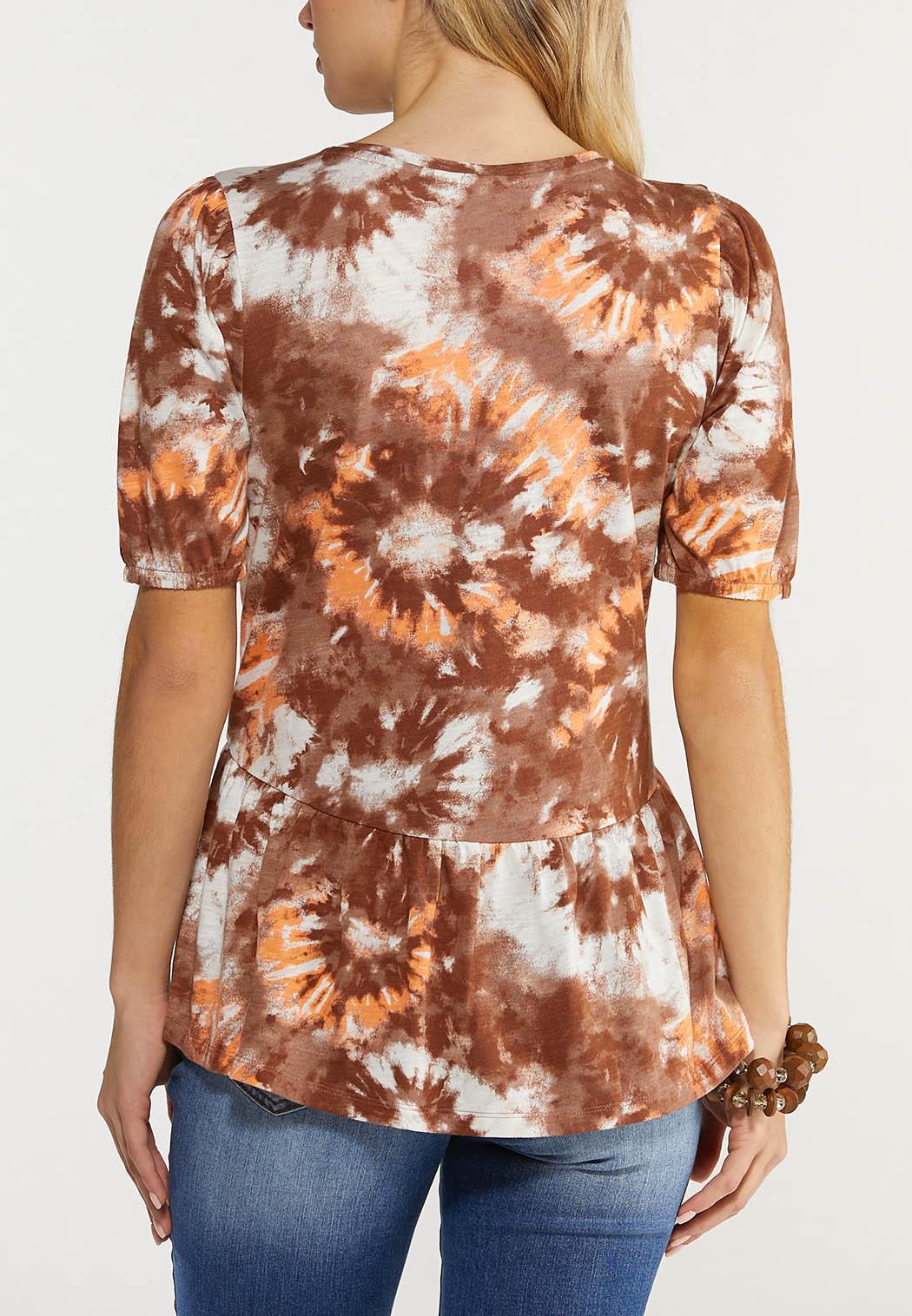 Plus Size Tie Dye Peplum Top (Item #44516119)