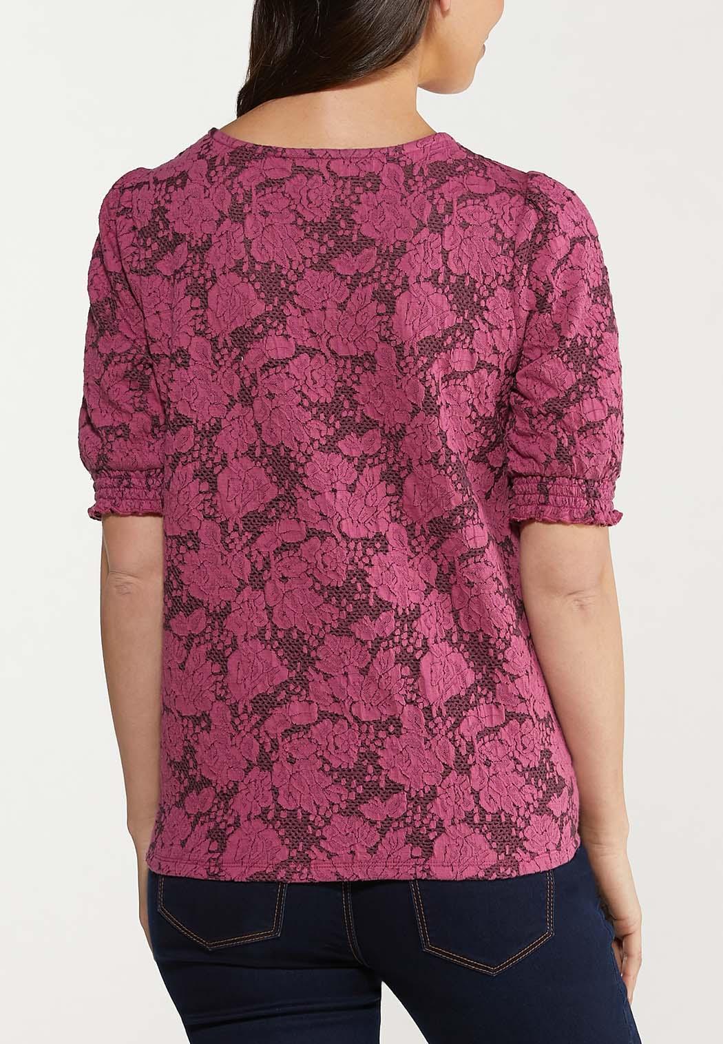 Plus Size Jacquard Smocked Sleeve Top (Item #44516137)