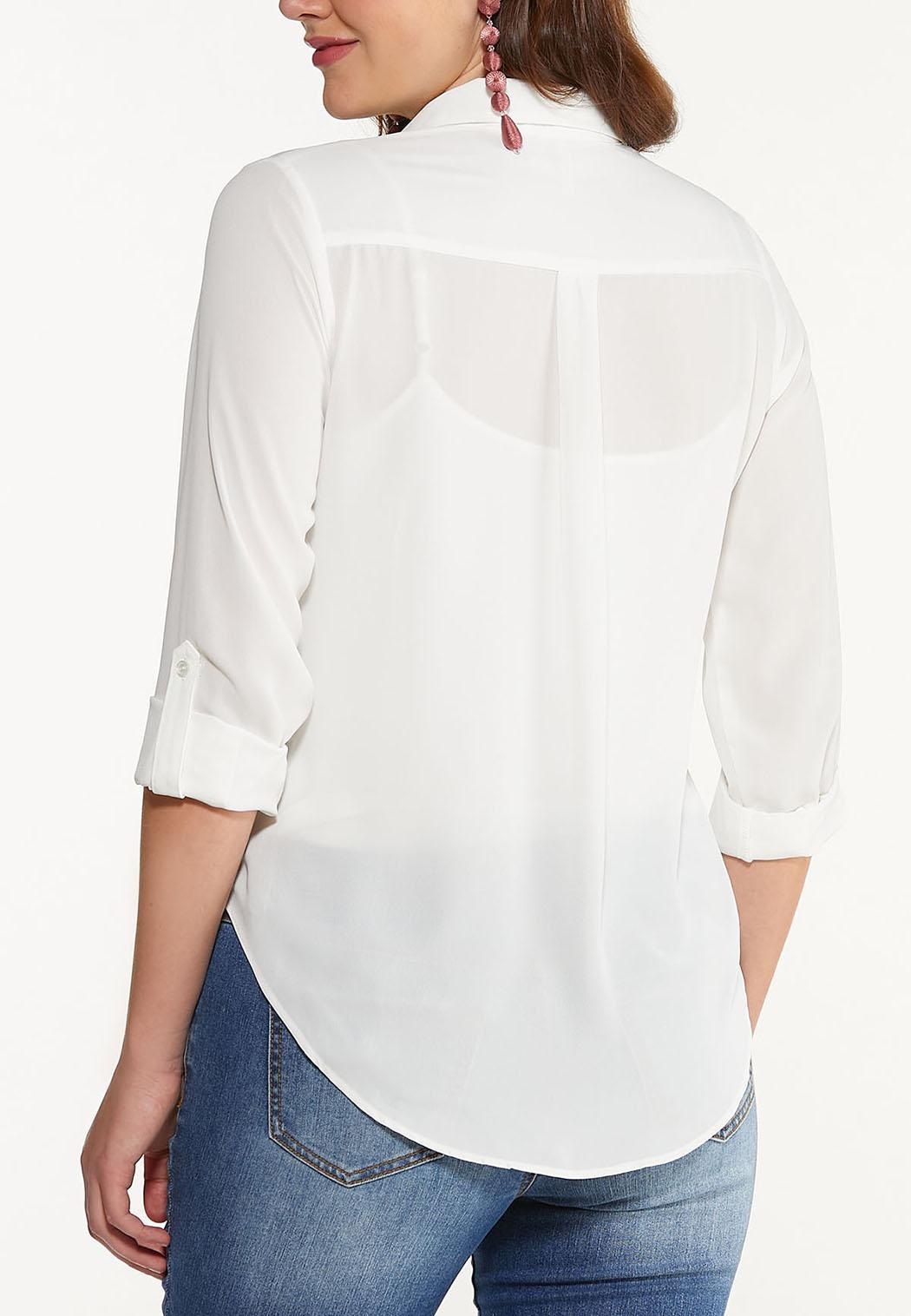 Plus Size Bright White Equipment Top (Item #44516252)