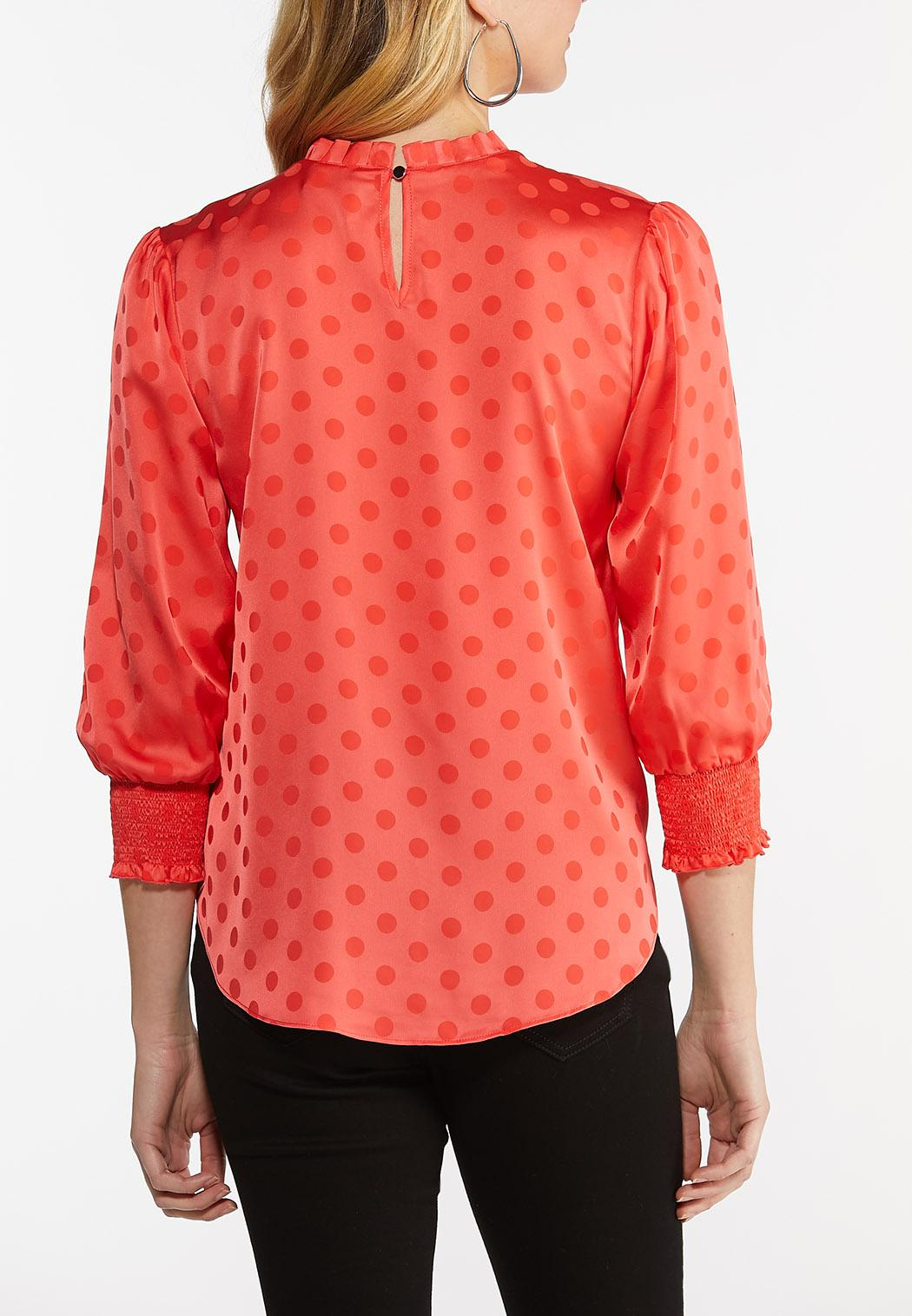 Dotted Satin Mock Neck Top (Item #44516260)