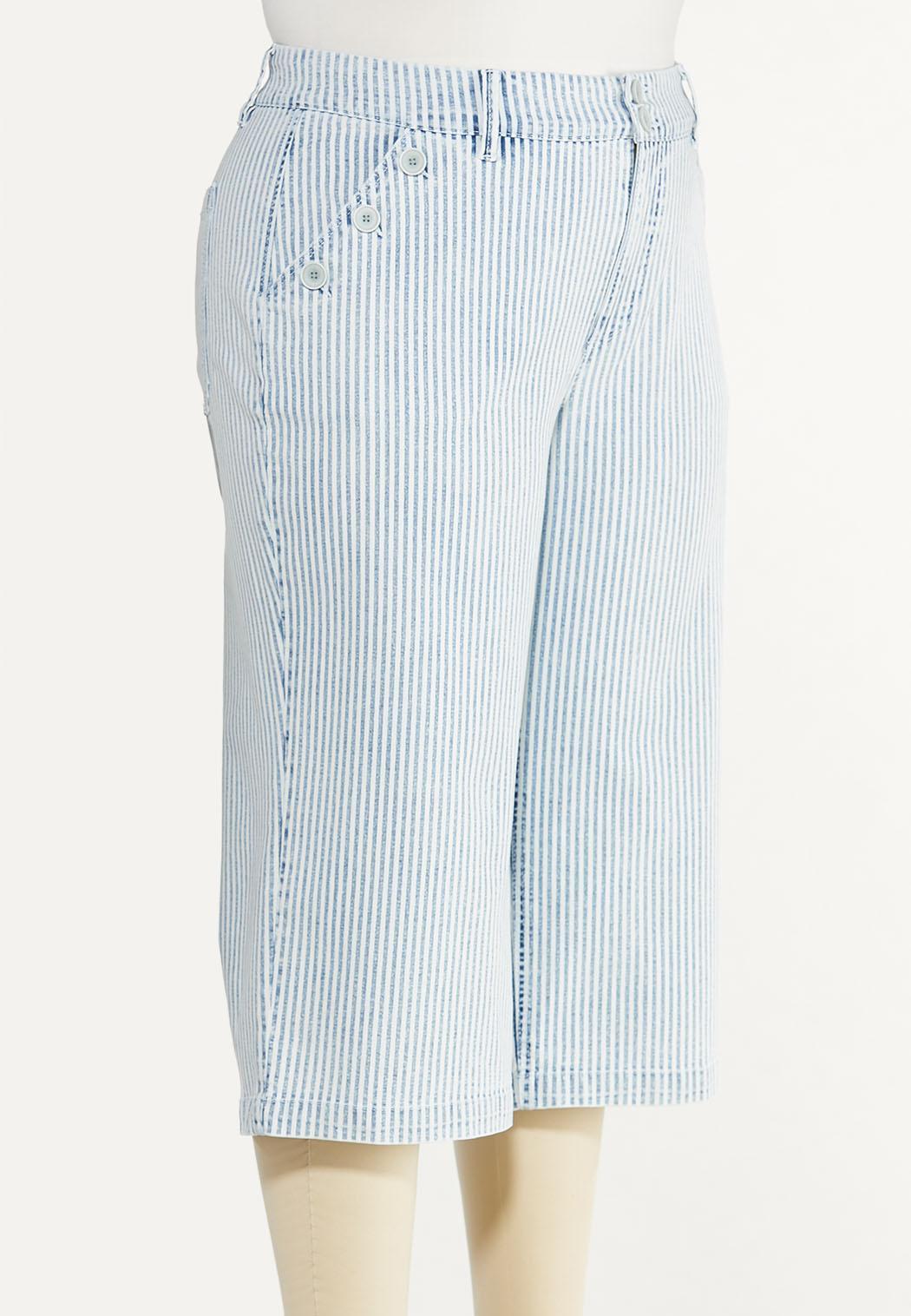 Plus Size Striped Cropped Skinny Jeans (Item #44516355)