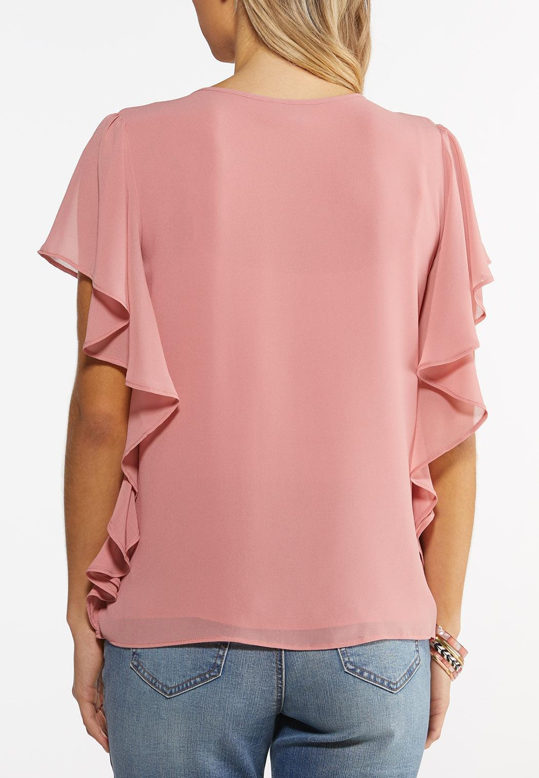 Plus Size Flutter Sleeve Top (Item #44516651)
