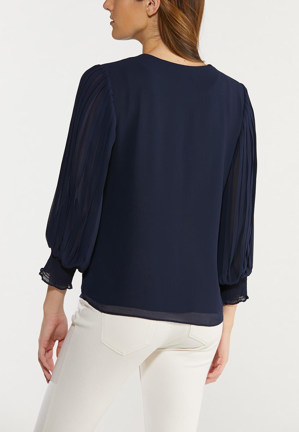 Plus Size Navy Smocked Sleeve Top (Item #44516891)