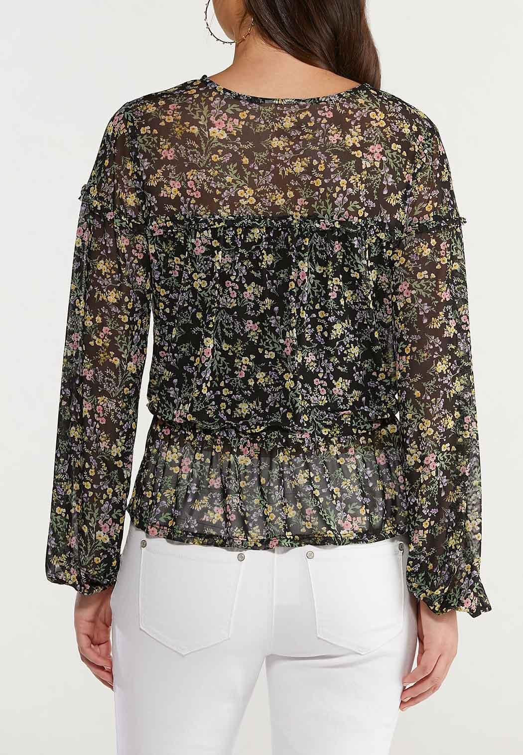 Plus Size Sheer Floral Peplum Top (Item #44517005)