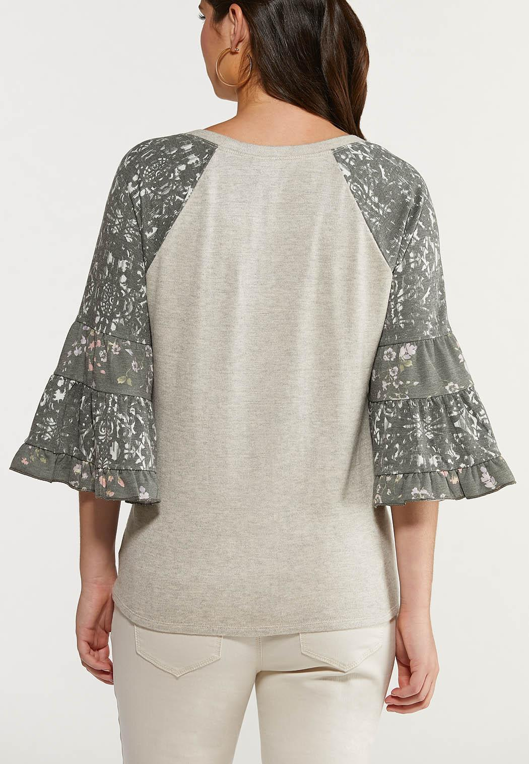 Plus Size Printed Flutter Sleeve Top (Item #44517048)