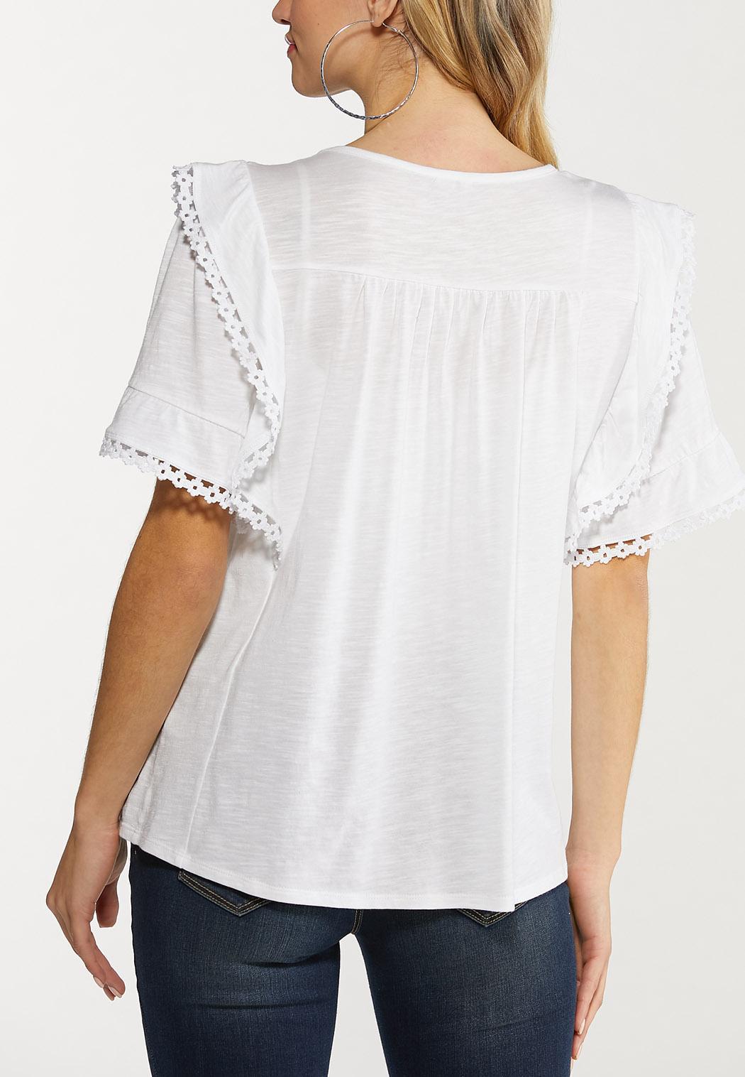 Plus Size Ruffled Flutter Lace Top (Item #44517524)