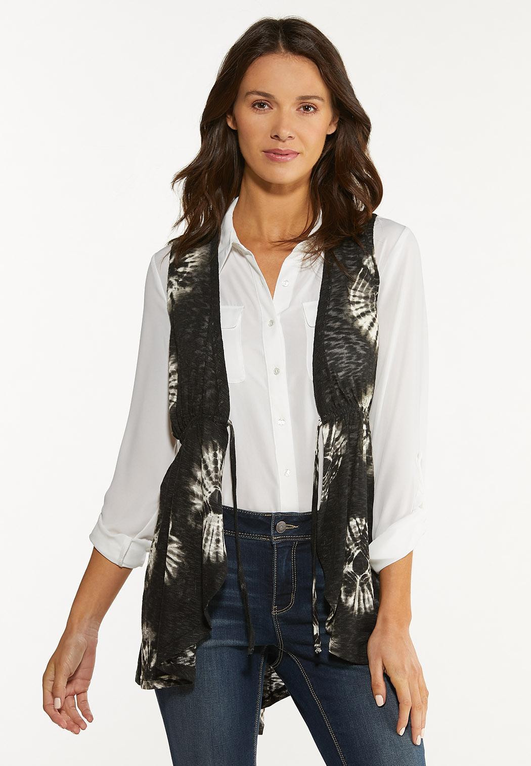 Plus Size Belted Tie Dye Vest (Item #44518127)