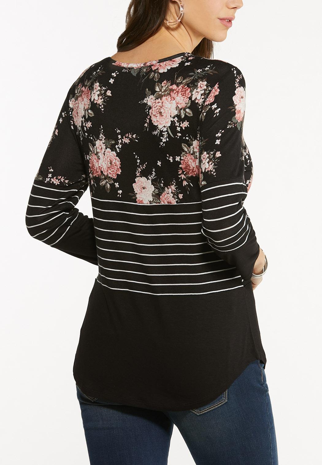 Plus Size Criss Cross Striped Floral Top (Item #44518215)