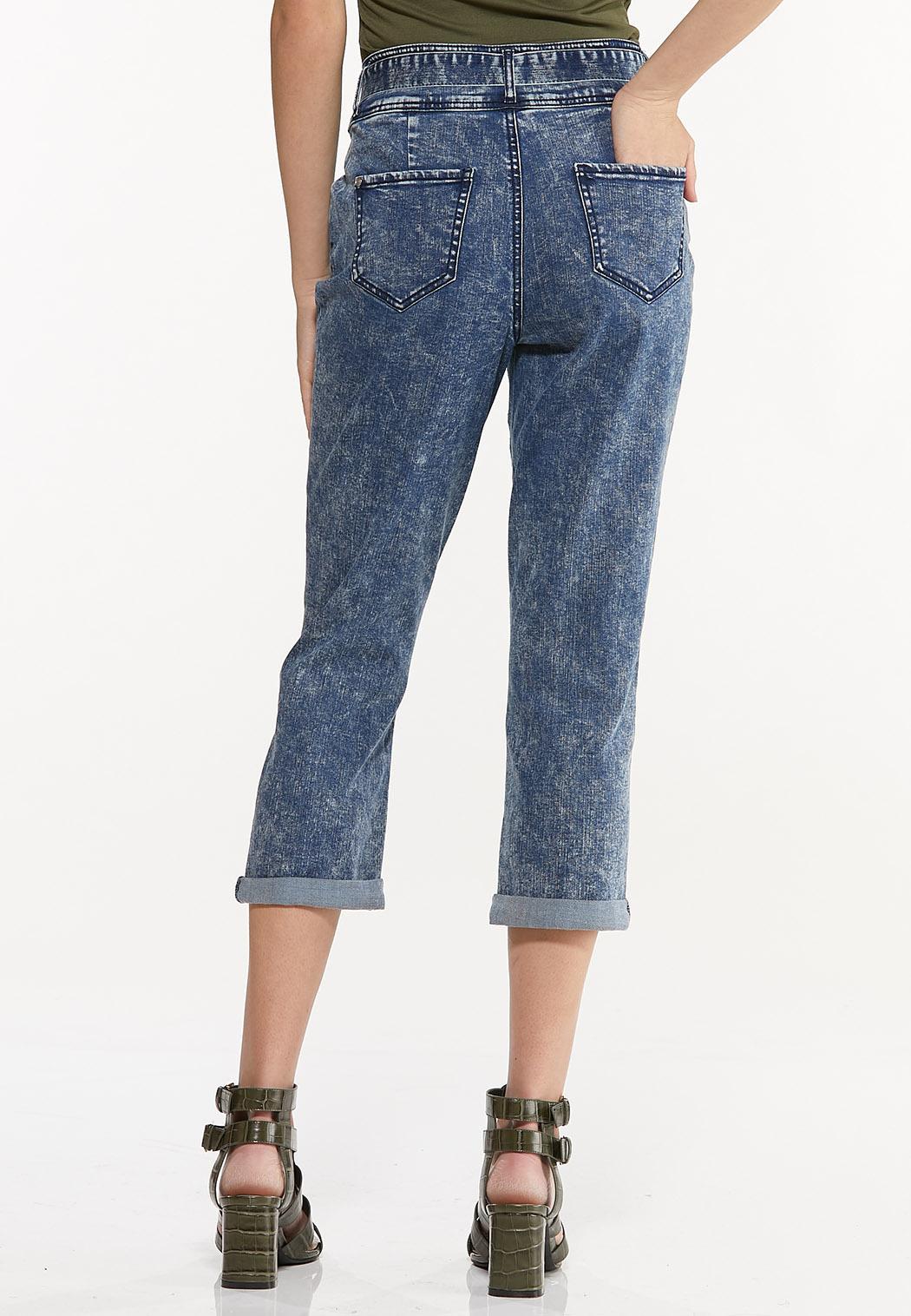Tie Belt Cropped Girlfriend Jeans (Item #44518999)