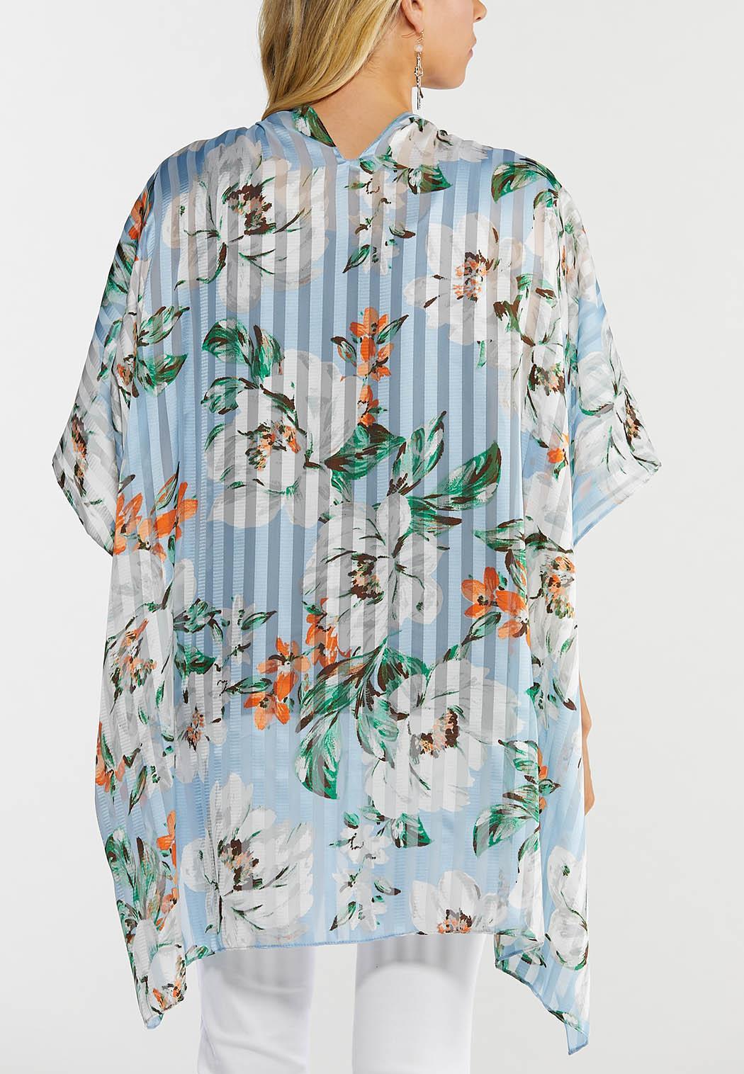 Shadow Stripe Floral Kimono (Item #44519023)