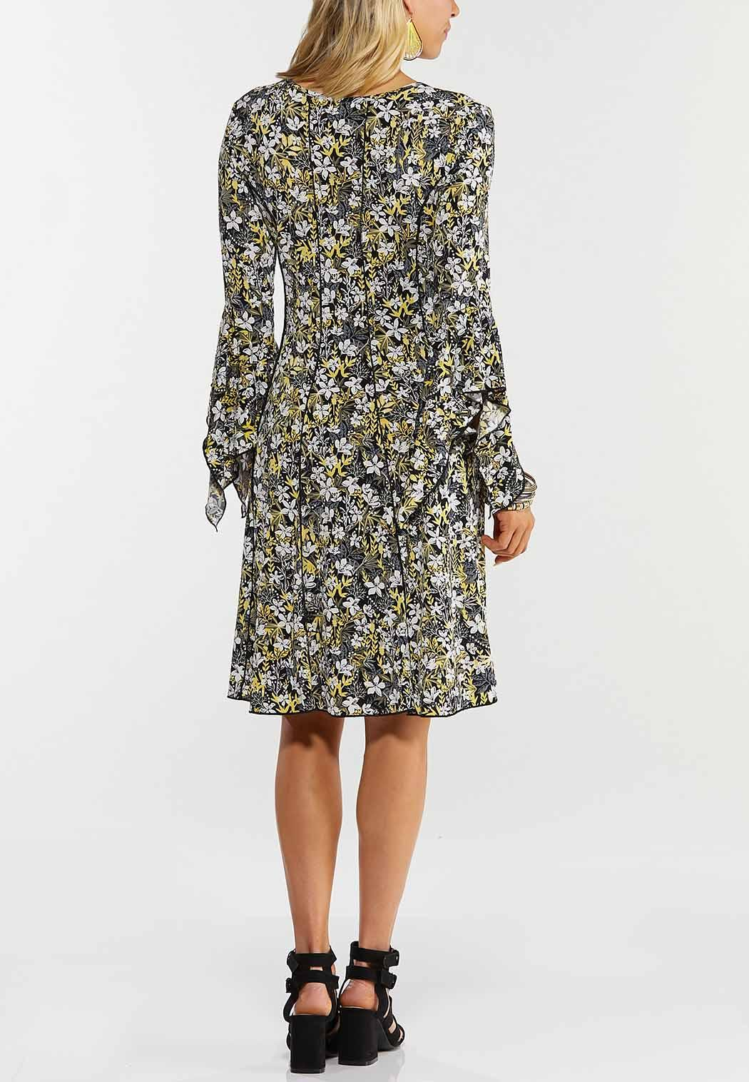 Floral Draped Sleeve Dress (Item #44519615)