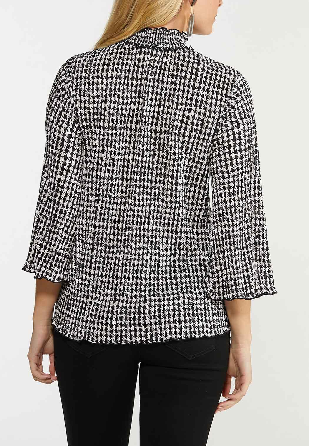Plus Size Pleated Mock Neck Houndstooth Top (Item #44519618)