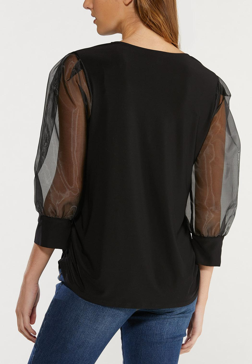 Plus Size Organza Sleeve Top (Item #44519792)