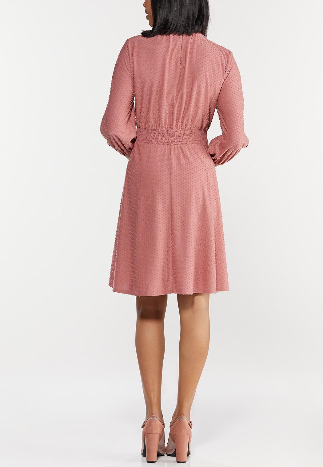 Smocked Dotted Mock Neck Dress (Item #44520080)