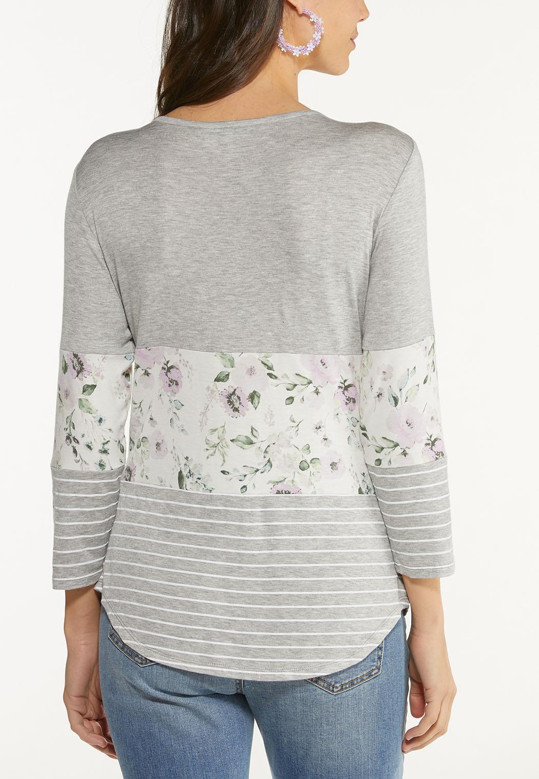 Lavender Floral Colorblock Top (Item #44520355)