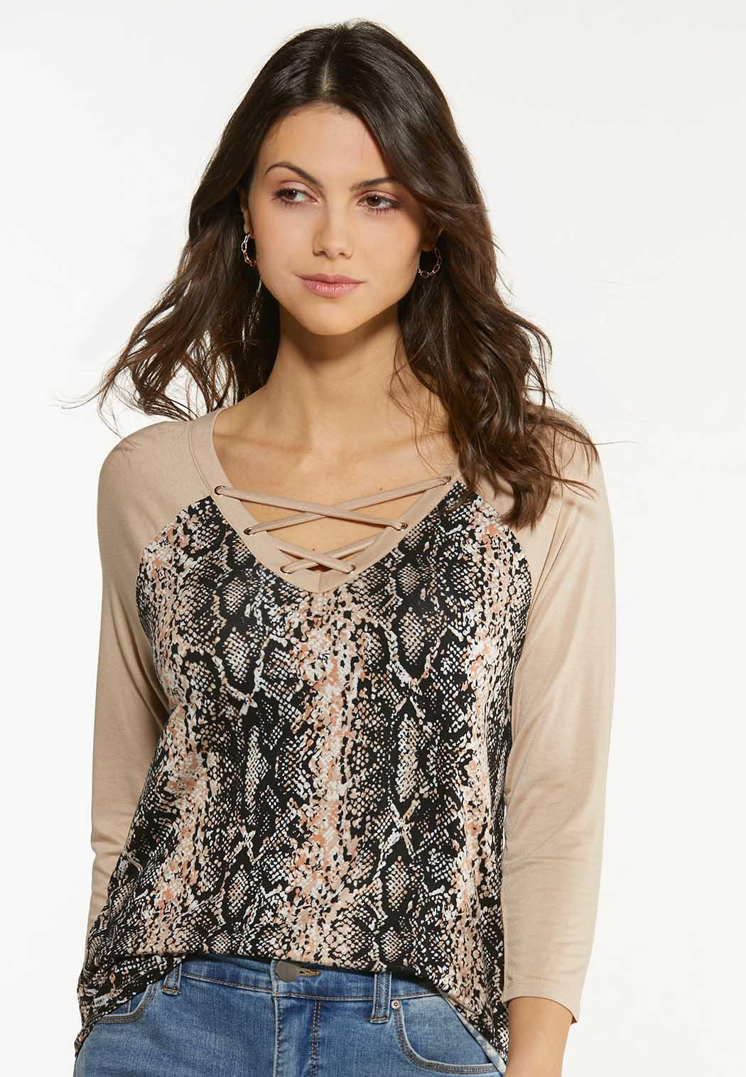 Lace Up Snake Print Top (Item #44520676)