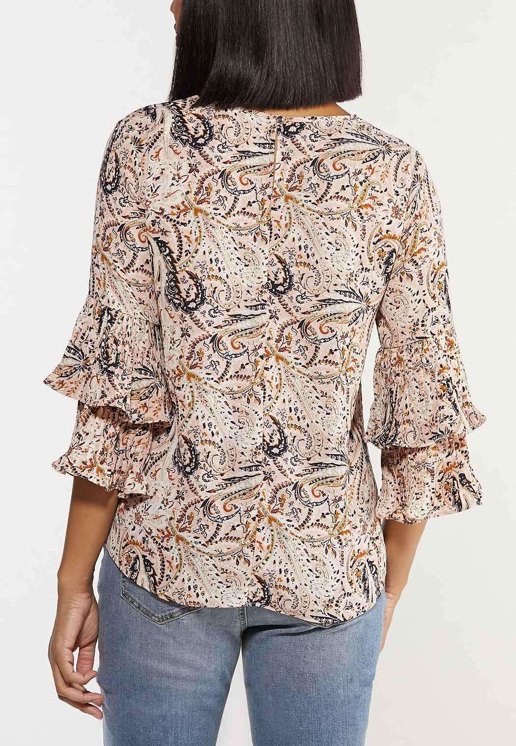 Plus Size Paisley Pleated Sleeve Top (Item #44520984)