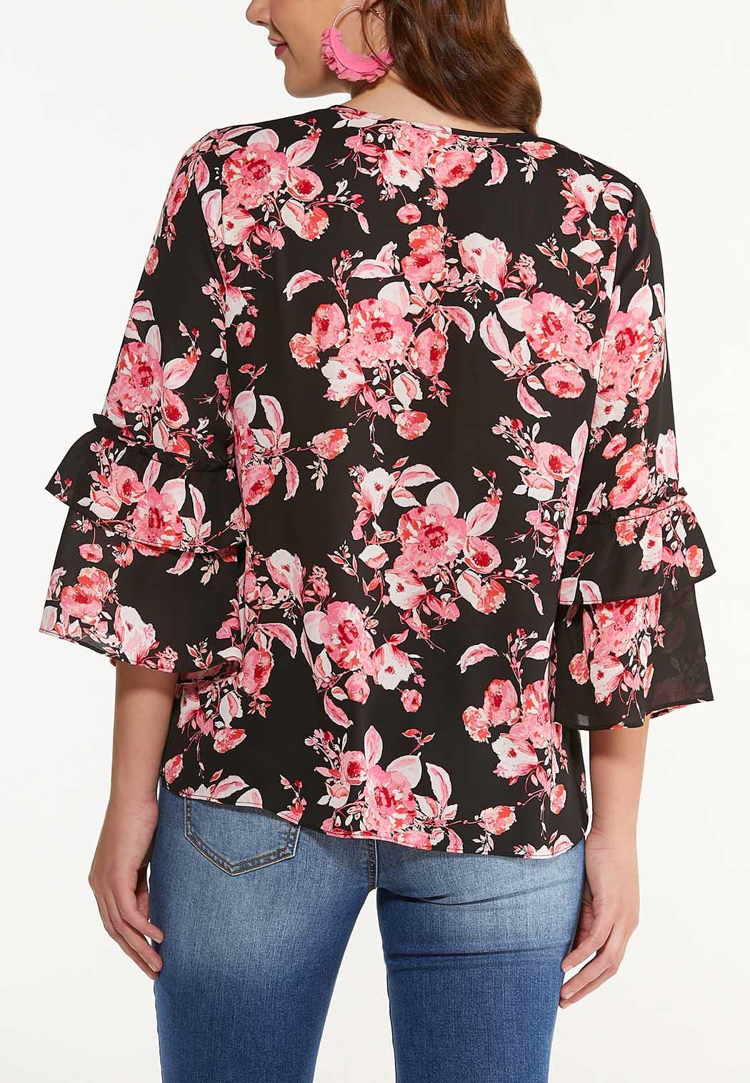 Plus Size Pink Bloom Ruffle Sleeve Top (Item #44521035)