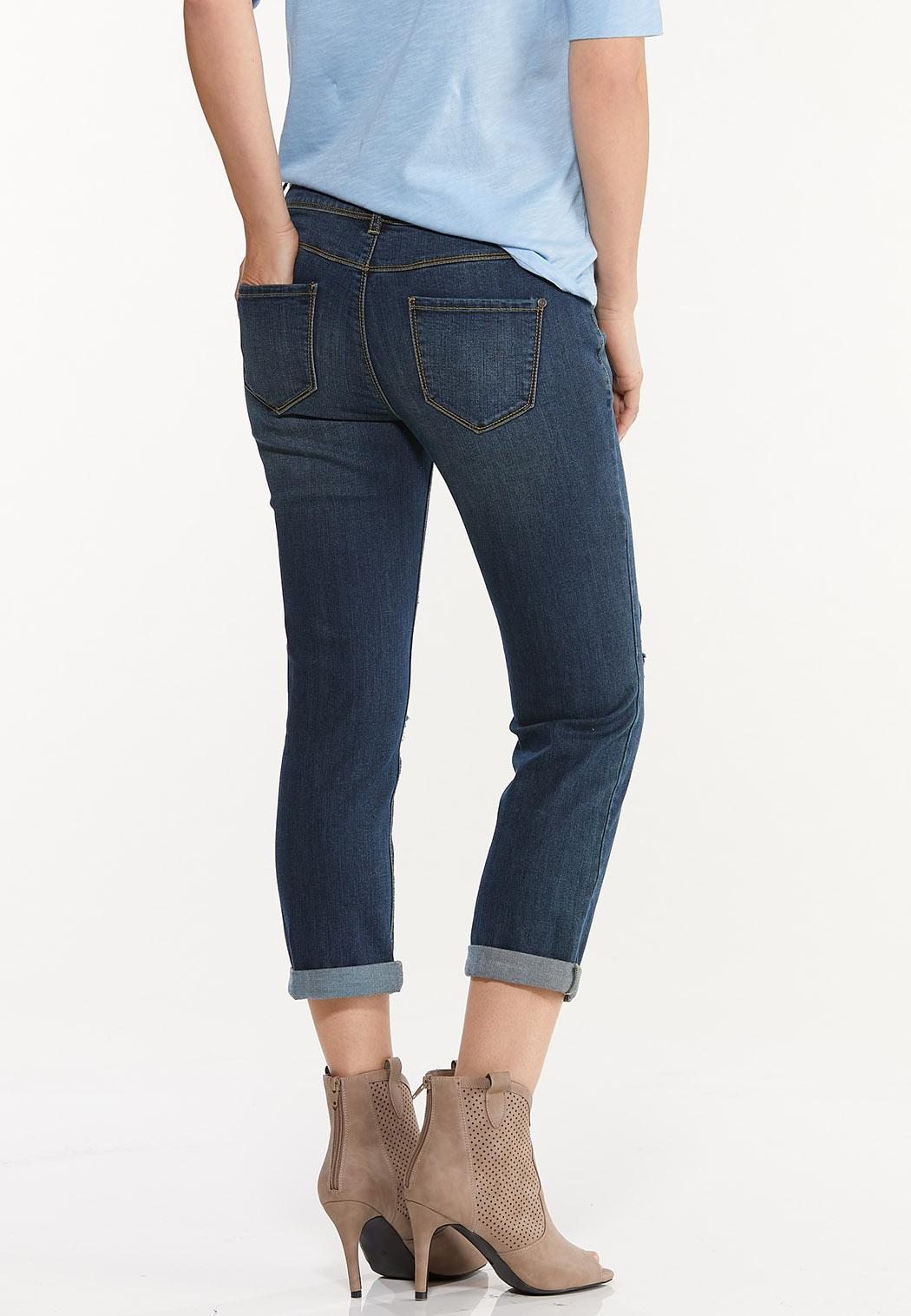 Cropped Distressed Girlfriend Jeans (Item #44522232)