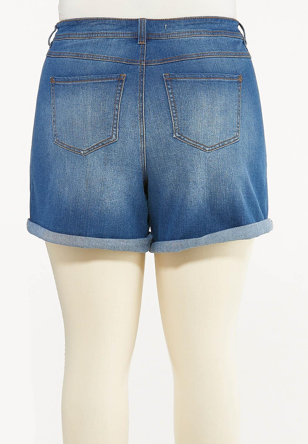 Plus Size Shape Enhancing Denim Shorts (Item #44522316)