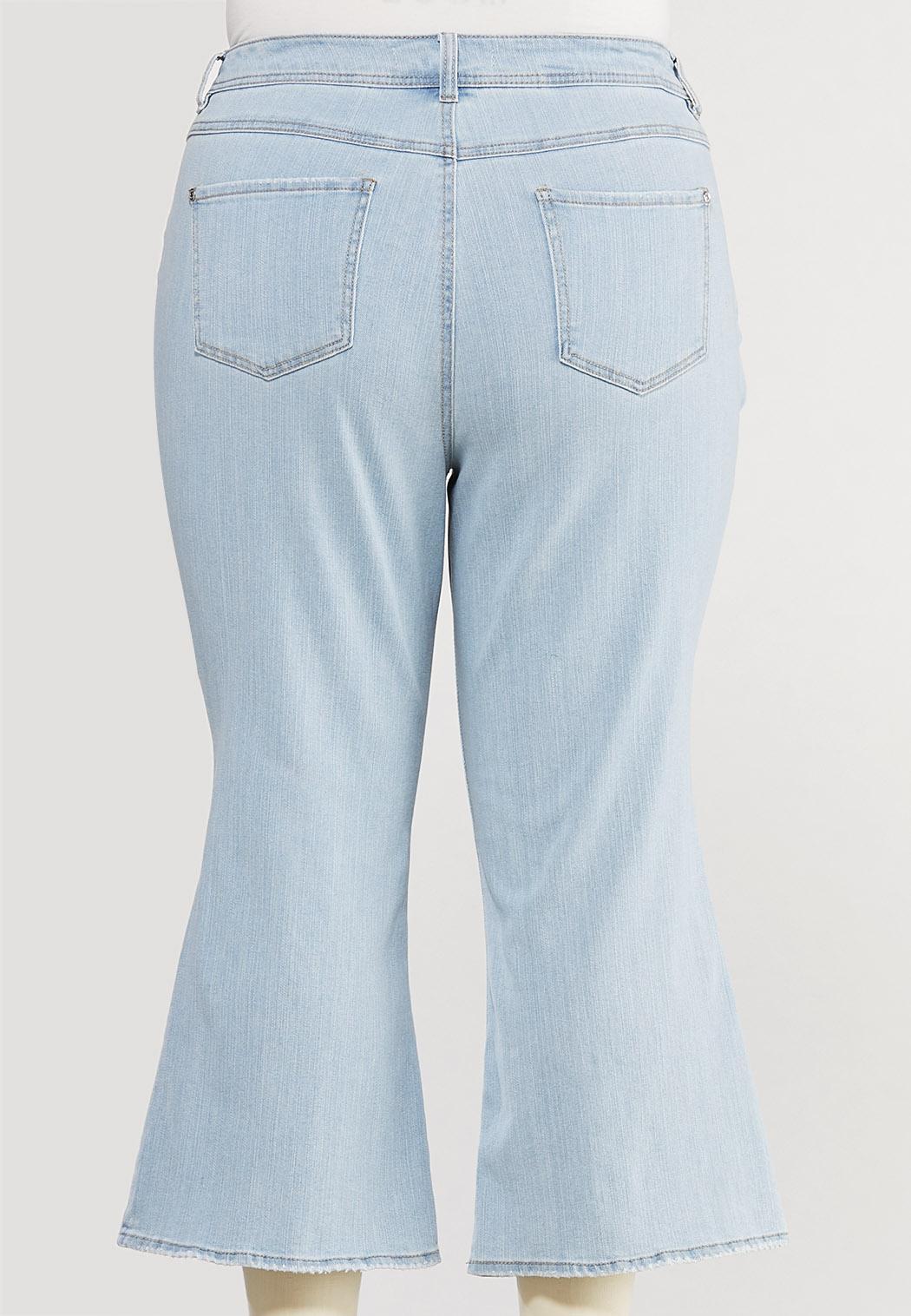 Plus Size Cropped Lightwash Flare Jeans (Item #44522517)