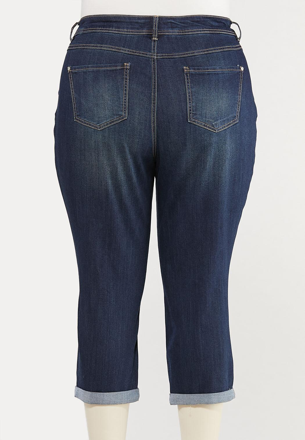 Plus Size Cropped Distressed Girlfriend Jeans (Item #44522550)