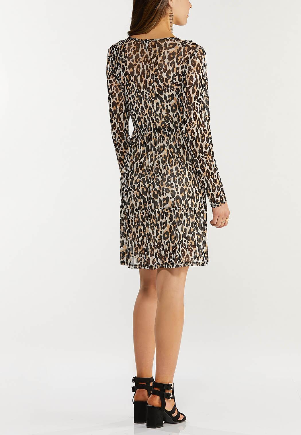 Plus Size Leopard Mesh Dress (Item #44522979)
