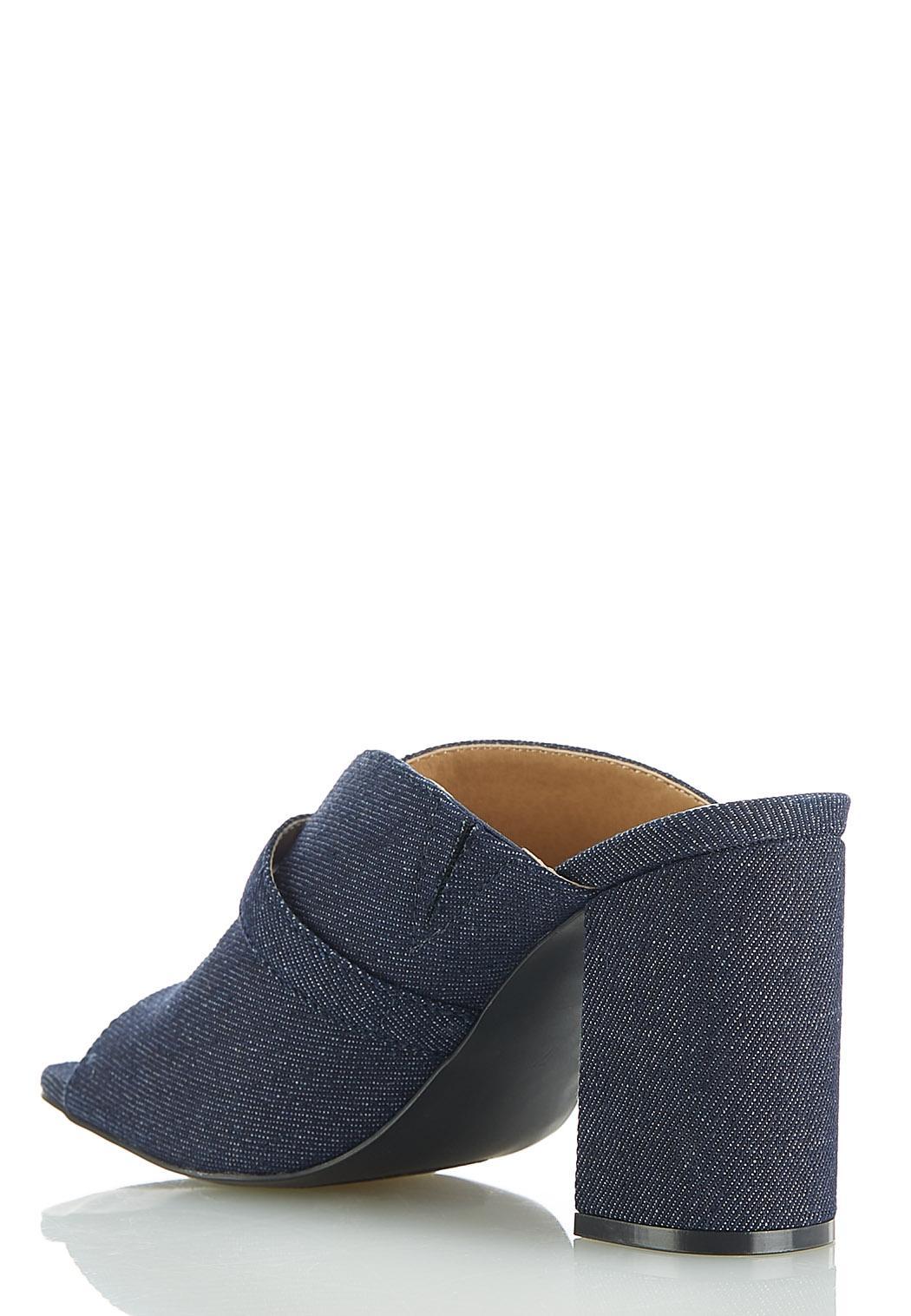 Dip V Denim Buckle Slide Sandals (Item #44523027)