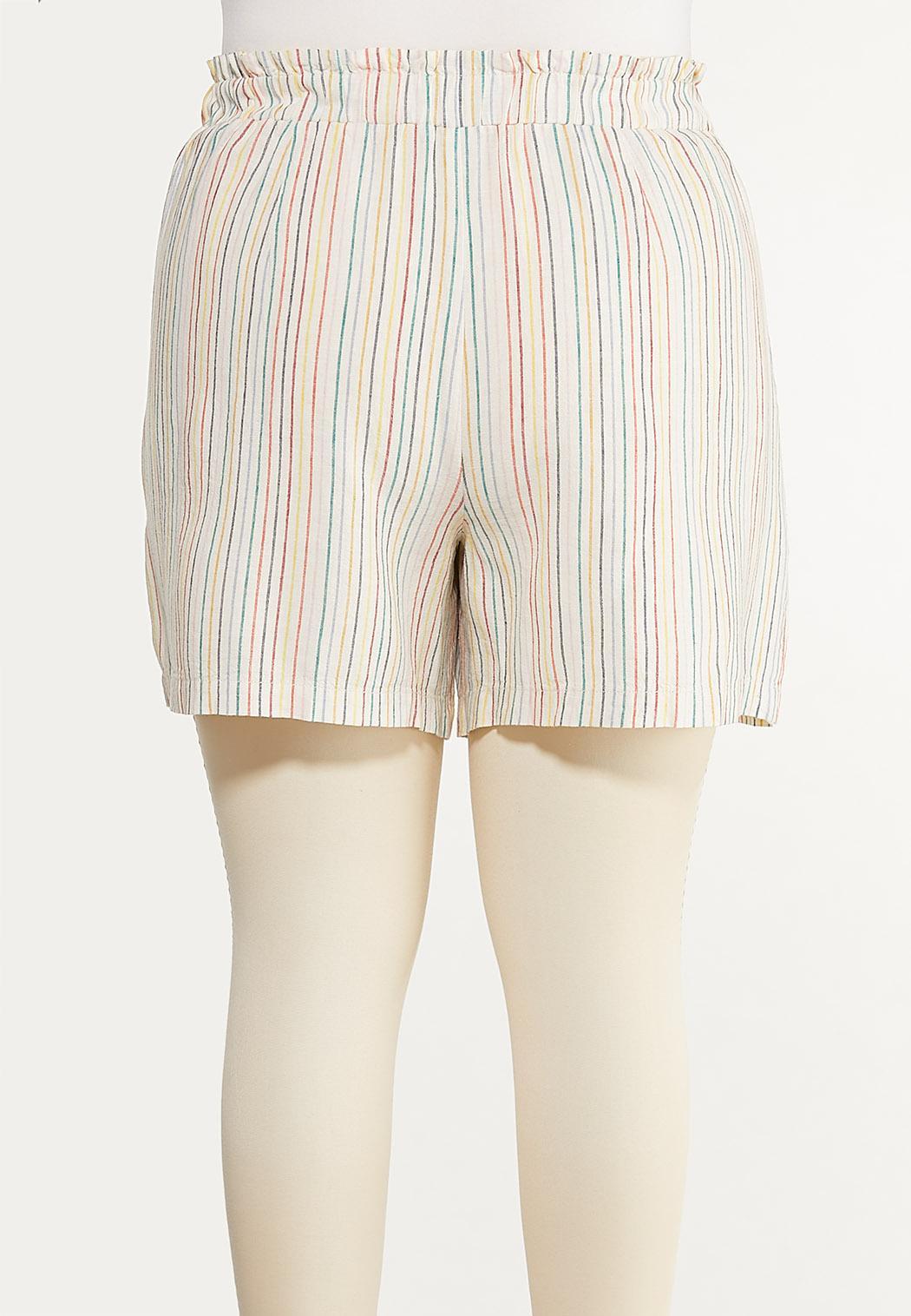 Plus Size Rainbow Stripe Linen Shorts (Item #44523473)