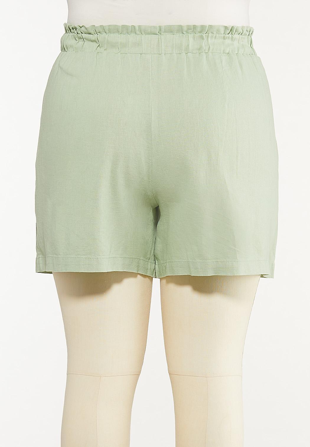Plus Size Green Linen Shorts (Item #44523523)