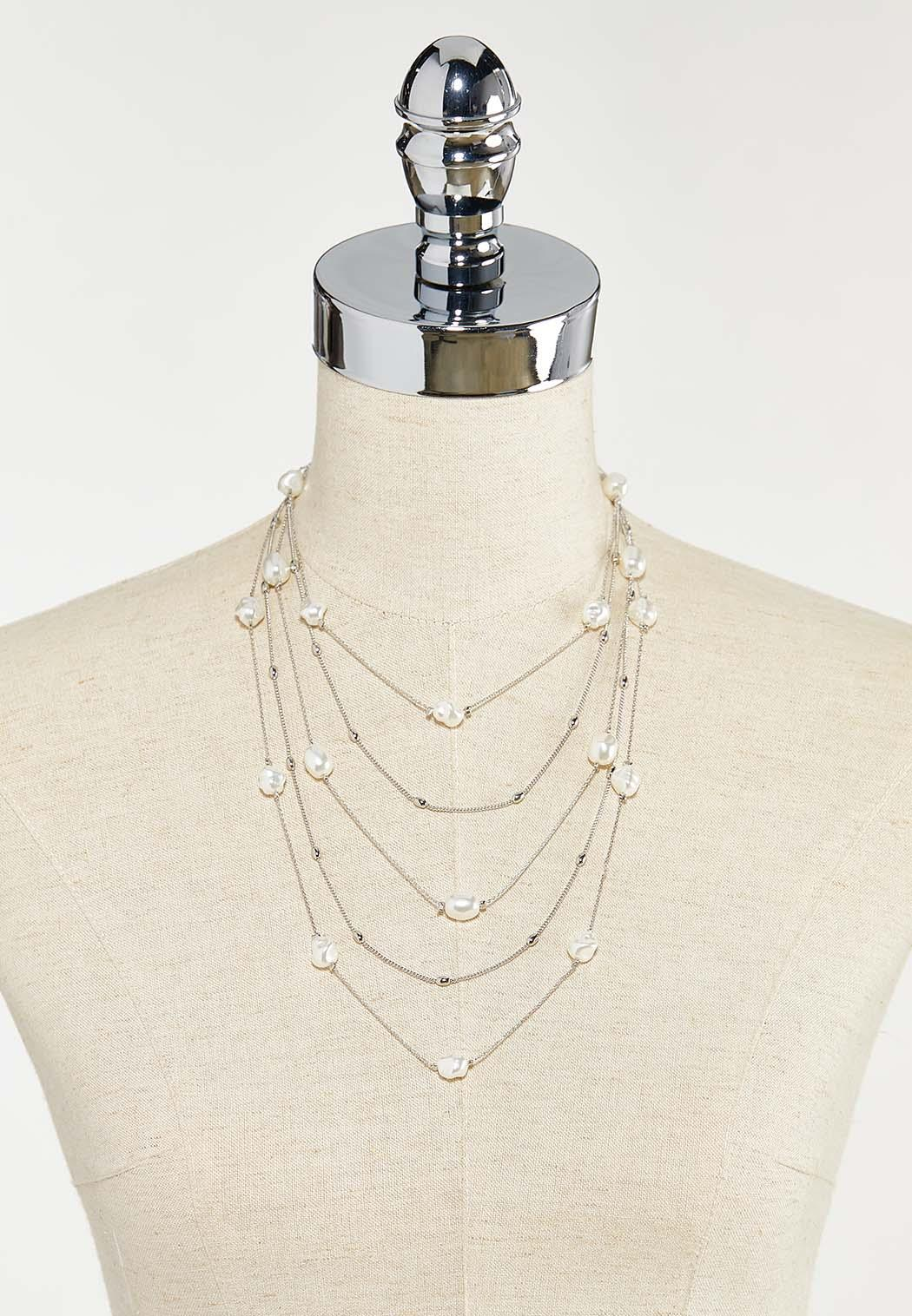 Delicate Layered Pearl Necklace (Item #44523607)