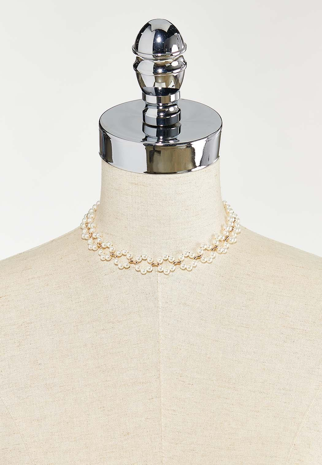Delicate Pearl Ring Choker Necklace (Item #44523617)
