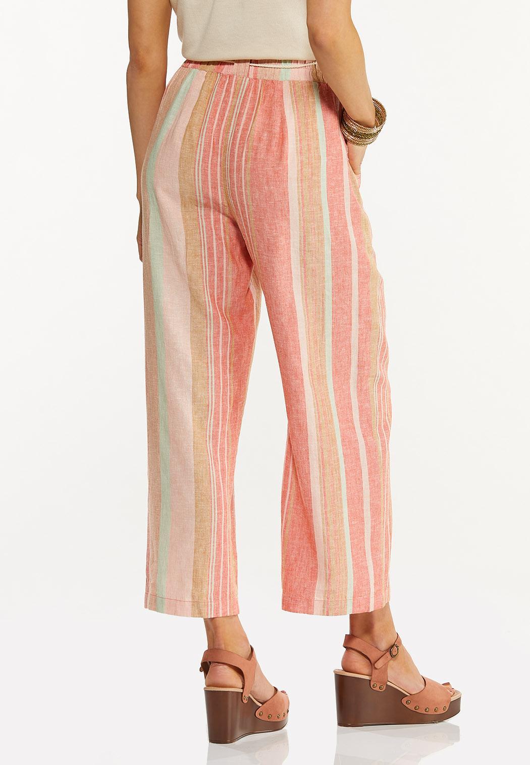 Coral Stripe Linen Cropped Pants (Item #44523683)