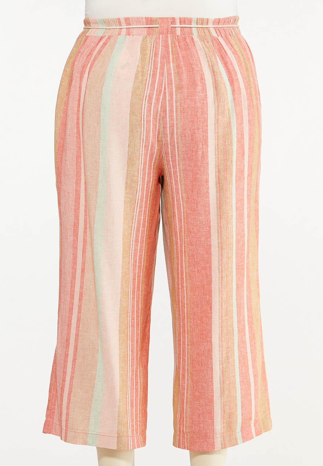 Plus Size Coral Stripe Linen Cropped Pants (Item #44523721)