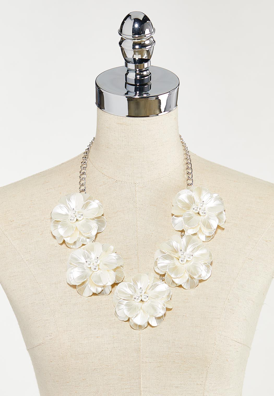 Statement Pearl Flower Necklace (Item #44524699)