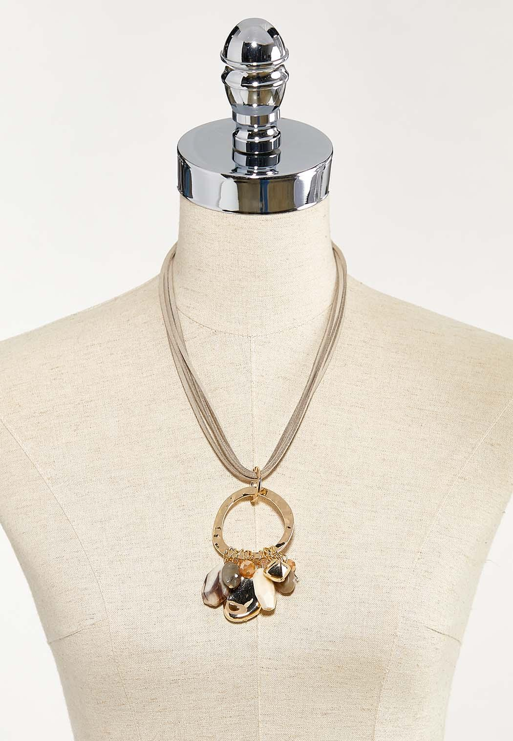 Hoop Charm Leather Band Necklace (Item #44524745)